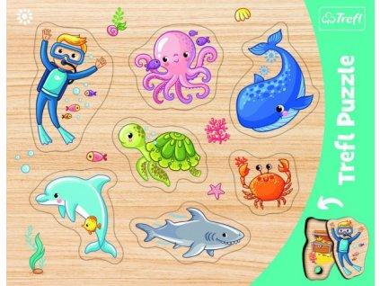 Vkládačka/Puzzle deskové obrysové zvířátka mořský svět