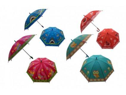 Deštník vystřelovací 66cm s píšťalkou mix barev