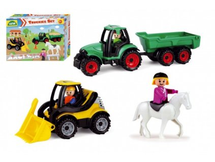 Truckies set farma plast traktor s přívěsem, nakladač s doplňky