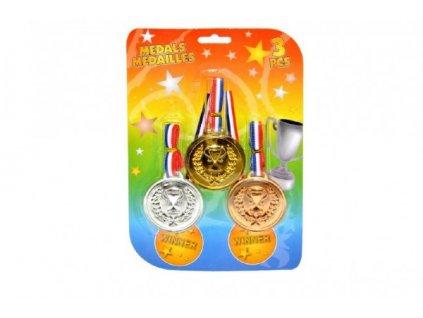 Medaile 3 barvy 3ks se šňůrkou