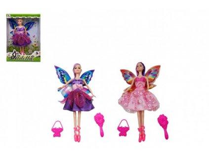 Panenka s křídly nekloubová s doplňky 2 druhy