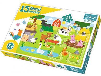 Puzzle zvířátka na vesnici 15 dílků