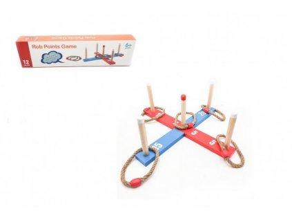 Házecí hra kříž s kruhy dřevo/provaz 12ks