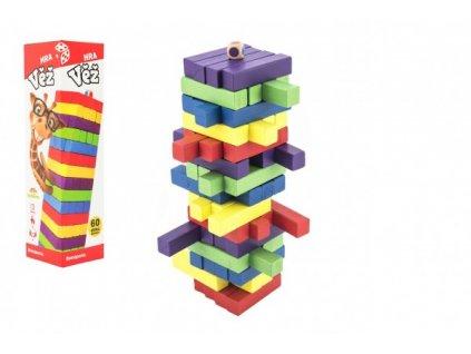 Hra věž dřevěná 60ks barevných dílků společenská hra hlavolam