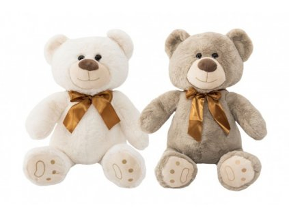 Plyšový medvěd sedící s mašlí 2 barvy