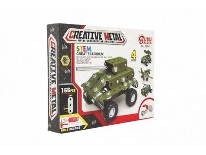 Stavebnice kovová vojenské auto 166 dílků