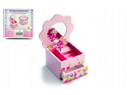 Skříňka šperkovnice Princess hrající květina zásuvka
