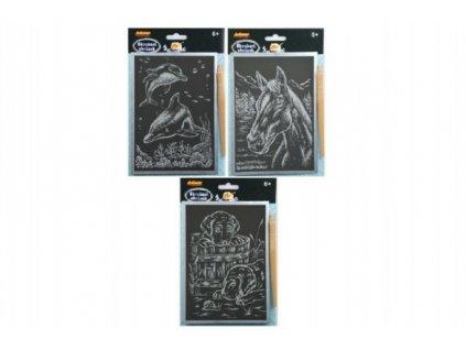 Škrabací obrázek stříbrný mix druhů