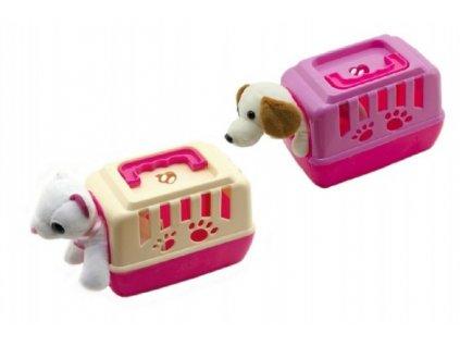 Zvířátko pejsek v přenosném boxu mix barev