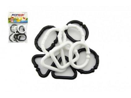 Plastové tvary černobílé řetěz 10 ks