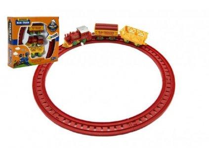 Vlak na klíček + 2 vagónky s kolejemi 2 barvy