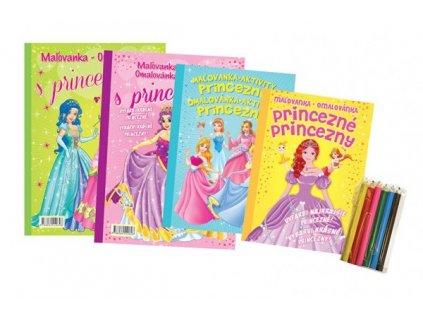 Omalovánky+aktivity/Maľovanky+aktivity Princezny/princezné 4ks +pastelky CZ+SK verze