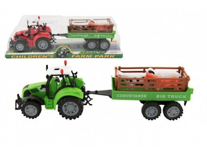 Traktor s přívěsem a zvířátky na setrvačník 2 barvy