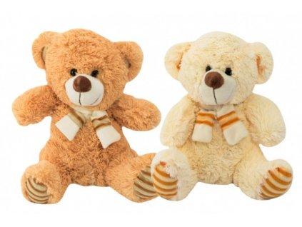 Plyšový medvěd sedící se šálou 2 barvy