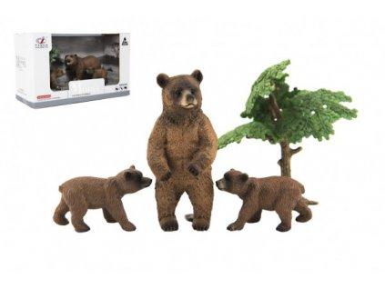 Zvířátka safari ZOO sada 4ks medvěd 2 druhy