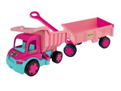 Sestava Wader Gigant nákladní auto s vozíkem růžová