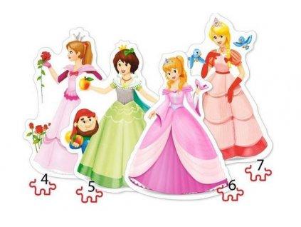 Puzzle 4v1 Princezny 8,12,15,20 dílků