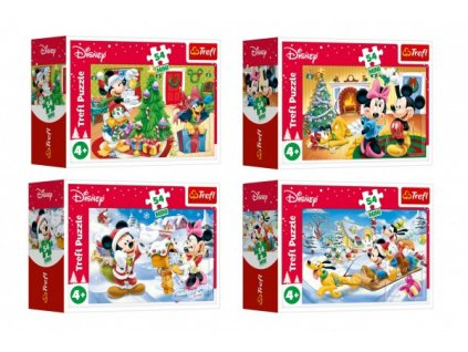 Minipuzzle Vánoce s Mickeym 54 dílků 4 druhy