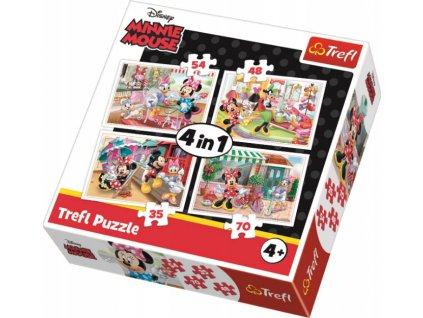 Puzzle Myška Minnie 4v1 (35,48,54,70 dílků)