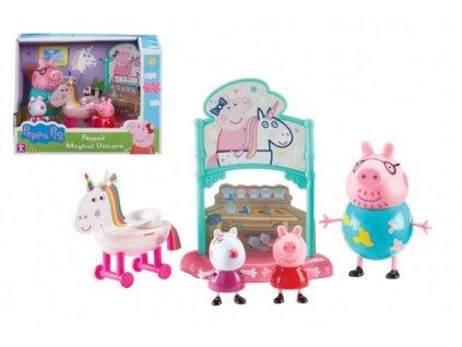 Prasátko Peppa/Peppa Pig sada s jednorožcem plast 3 figurky s doplňky