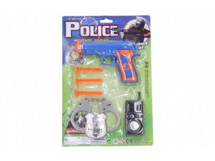 Policejní sada pistole na přísavky náboje 3ks s doplňky