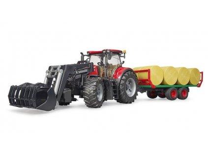 Bruder 3198 Traktor Case IH Optum 300 CVX s čelním nakladačem a přepravníkem na balíky 6