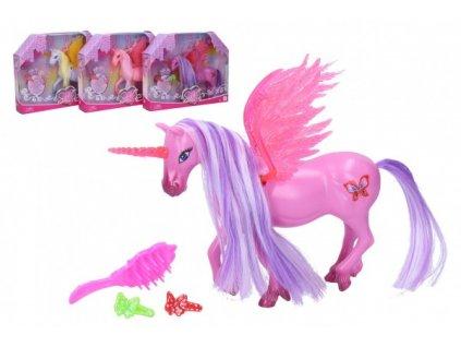 Jednorožec/kůň s křídly česací s doplňky 2 barvy
