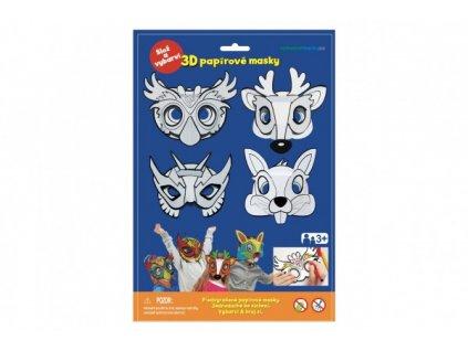 Maska škraboška 3D papírová 4ks sova, jelen, zajíc, superhrdina