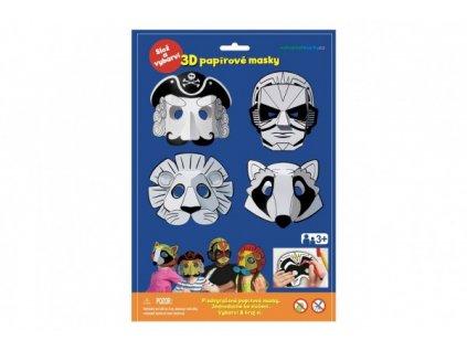 Maska škraboška 3D papírová 4ks pirát, superhrdina, lev, mýval