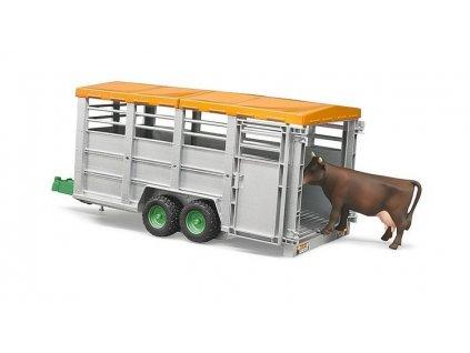 Přívěs BRUDER 2227 na hospodářská zvířata velký + kráva 1