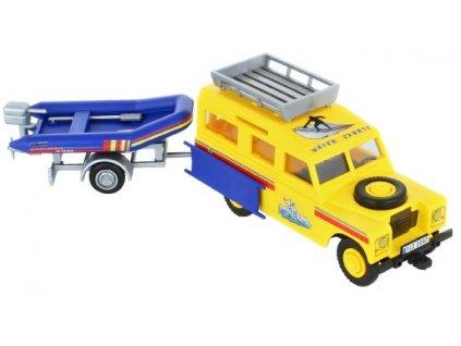 Stavebnice Monti 63 Land Rover-vlek s loďkou/člunem 1:35