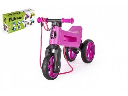 Odrážedlo FUNNY WHEELS Rider SuperSport fialové 2v1+popruh, vkrabici