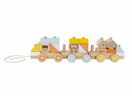 Vlak dřevěný, tahací 21 dílků