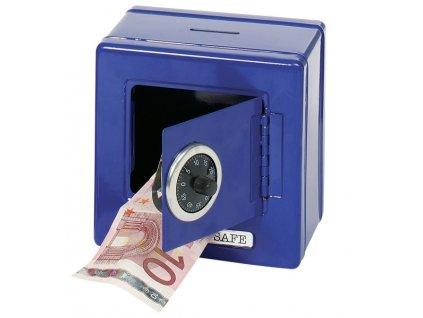 Plechová pokladnička – Trezor modrý