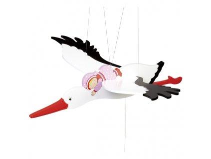Čáp a růžové miminko - létající závěsná dekorace