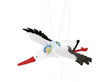 Čáp a modré miminko - létající závěsná dekorace