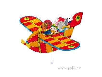 Dřevěné létající letadlo červené - létající závěsná dekorace