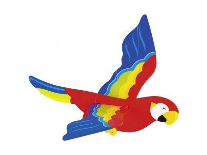 Dřevěný létající papoušek menší - létající závěsná dekorace