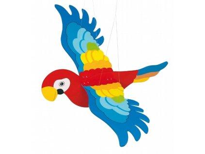 Dřevěný létající papoušek větší - létající závěsná dekorace