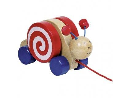 Dřevěná tahací hračka Šneček s otočným domečkem