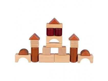 Stavební kostky ve dřevěném rámu, 46 dílů