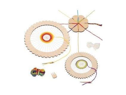 Set pro tvoření – kulatý tkalcovský rám + kytka