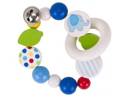 Modré slůně - elastický kroužek s rolničkou
