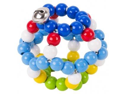 Elastický míč s rolničkou, modrý