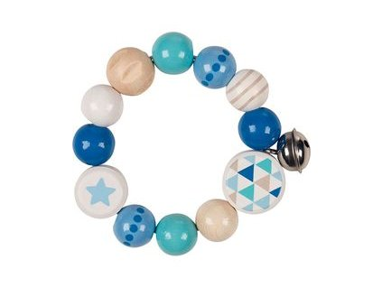 Hvězda modrá - hračka do ruky s rolničkou