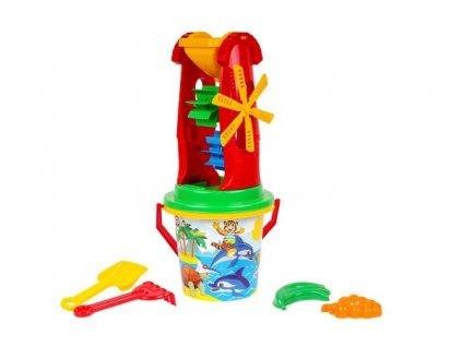 Sada na písek plast kbelík, mlýnek s doplňky 4 druhy v síťce 20x42x19cm 12m+