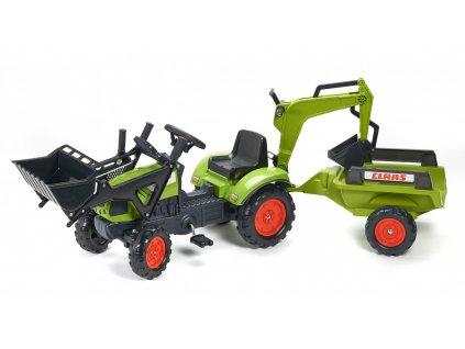 Šlapací traktor Claas 2040N Arion 410 s nakladačem, rypadlem a vlečkou