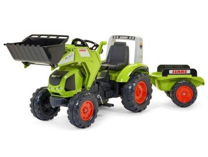 Šlapací traktor Claas Axos 330 zelený s přední lžící a přívěsem