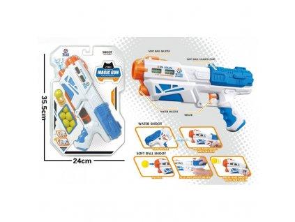 Pistol 2v1 na vodu a pěnové míčky