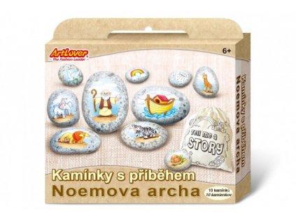 Malování na oblázky/kameny s příběhem Noemova archa  kreativní sada  v krabičce 19x16x4cm